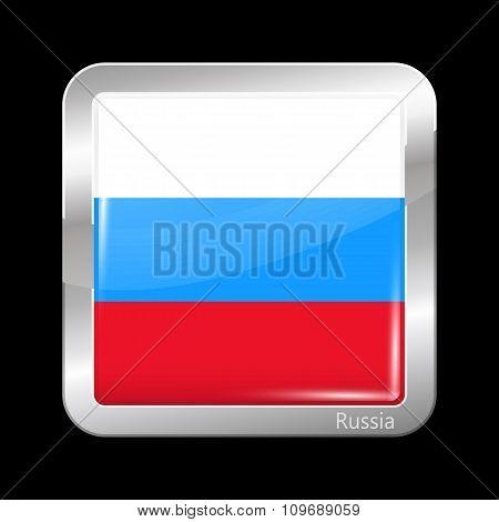 Russia Variant Flag. Metallic Icon Square Shape