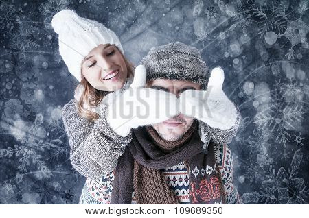 Happy Young Couple   Covering  Snow Background.fooling Around. Snowy Card.