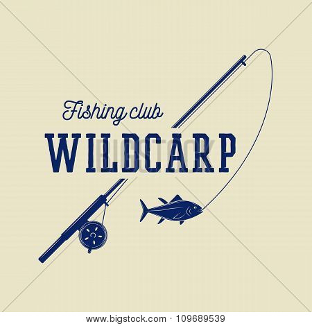 Vintage Fishing Label, Log, Badge. Vector Illustration