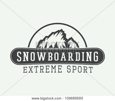 Vintage Snowboarding Logo, Badge, Emblem And Design Elements. Vector Illustration