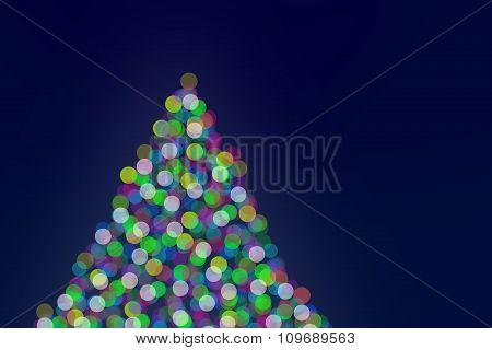 Christmas Tree Lights On Green Background