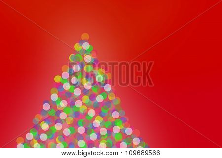 Christmas Tree Lights On Red Background