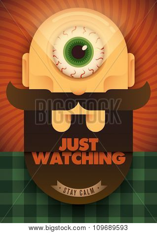 Conceptual poster with big eye. Vector illustration.