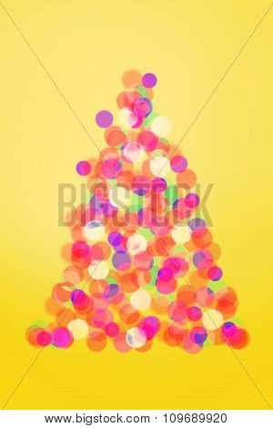 Christmas Tree Lights On Yellow Background