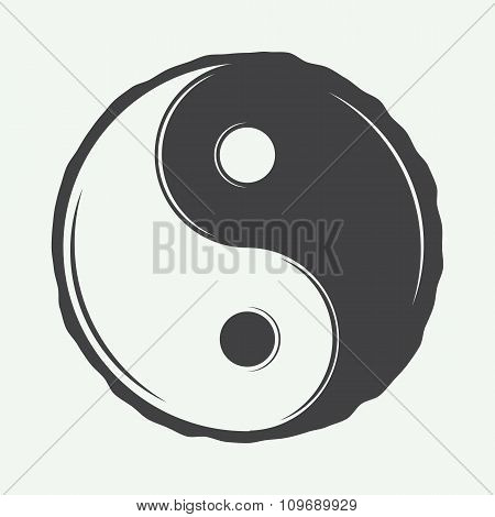 Vintage Yin Yang Symbol In Retro Style. Can Be Used To Martial Arts Logo, Emblems, Badges, Labels