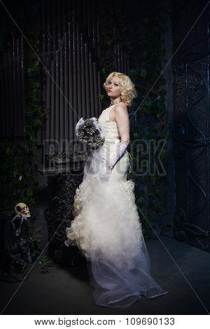 Bride In A Tomb. Dark Mystery Scene