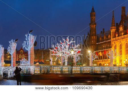 Christmas Market Place at Bruges, Belgium