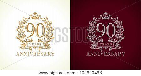 90 anniversary luxury logo.