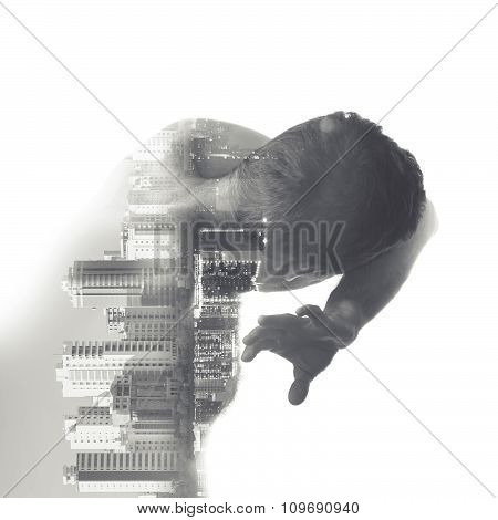 Man Covers His Face From Some Danger, Cityscape Collage