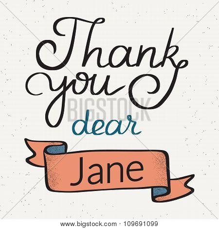 Thank you dear Jane handwritten design