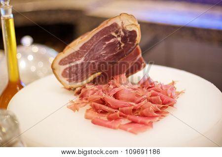 Sliced Ham On Cutting Board