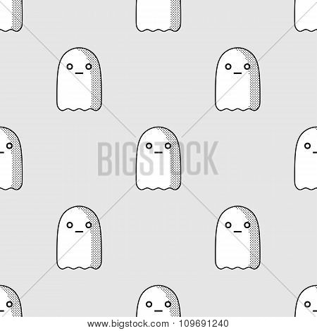 Halloween Seamless Pattern With Cute Ghost Character In Comic Style