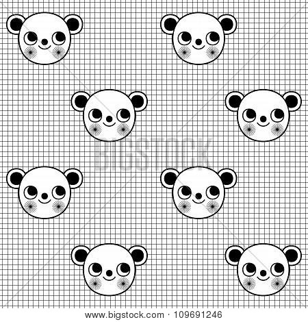 Black And White Seamless Pattern With Cute Monkey Character On Grid Background. Wrapping Paper With