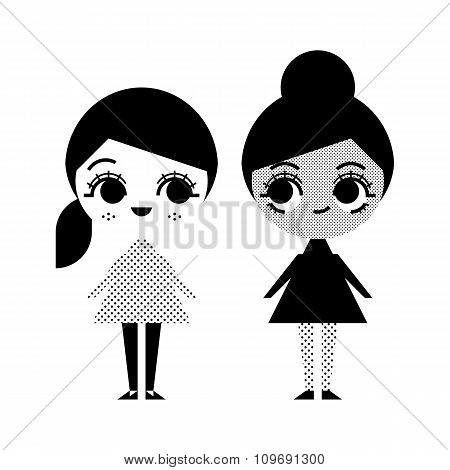 Black And White Illustration Of Two Girls In Vintage Style On White Background