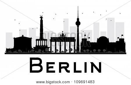 Berlin City skyline black and white silhouette. Vector illustration. Simple flat concept for tourism presentation, banner, placard or web site. Business travel concept. Cityscape with famous landmarks