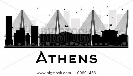 Athens City skyline black and white silhouette. Vector illustration. Simple flat concept for tourism presentation, banner, placard or web site. Business travel concept. Cityscape with famous landmarks