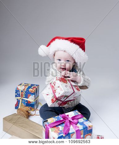 Santa Claus Baby  With Gift Boxes