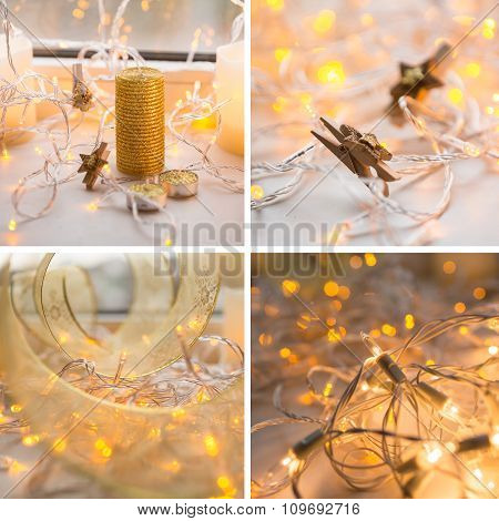 colage of four photos with decoration xmas lights