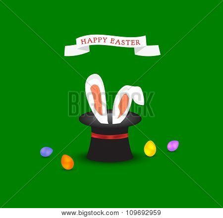 Happy Easter Greeting Card With Bunny Ears Coming Out Of Magic Hat And Colored Easter Egg