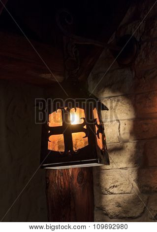 Wooden Stylized Ancient Lantern. Interior And Lighting