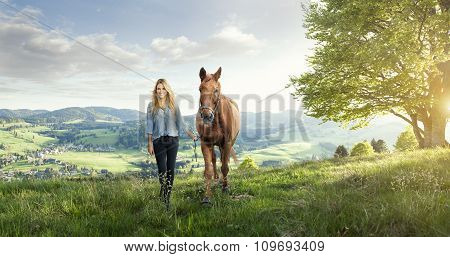 Landscape with Woman and horse