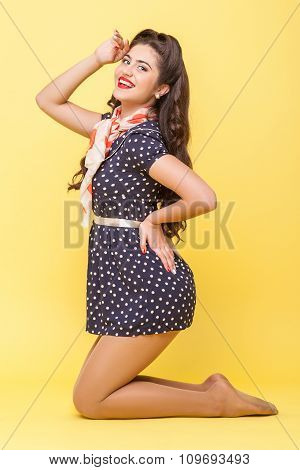 Cute retro-style woman is expressing positive emotions