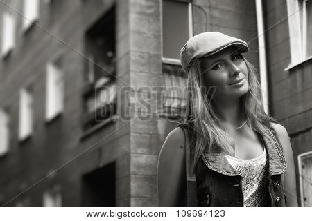 Fashion Young Woman Walking On The Street