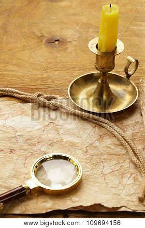 Vintage map and accessories for the treasure hunt and travel