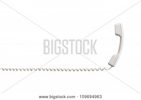 White handset with twisted wire, stretched horizontally