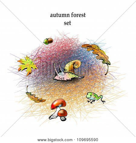 Graphic autumn forest set colorful