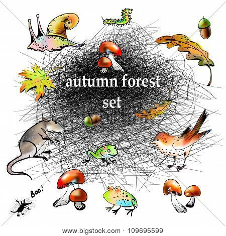 Graphic autumn forest set
