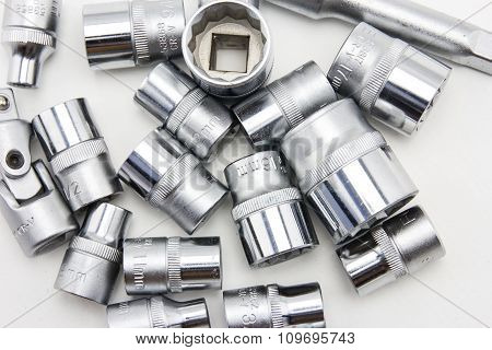 Close Up Car Engine With Tools