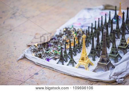 Little Eiffel tower lighting statues in Paris