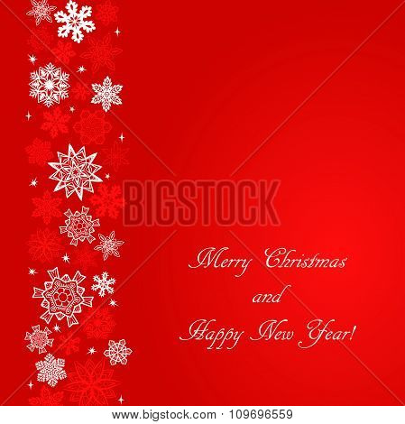 Christmas red square background with snowflakes to the left border