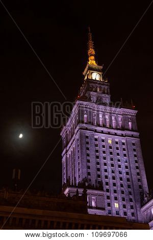 Night View Palace Of Culture And Science  In Warsaw In Poland