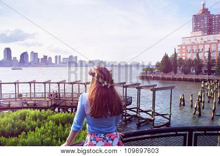 Girl Look At Manhattan And Jersey City Buildings Panorama