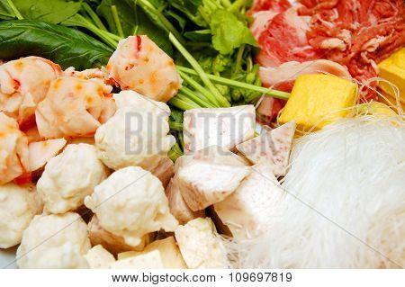 Assorted ingredients for Shabu Shabu or hot pot