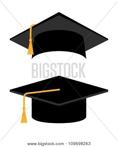 Academic Cap on white background. Student hat. Graduation Cap.