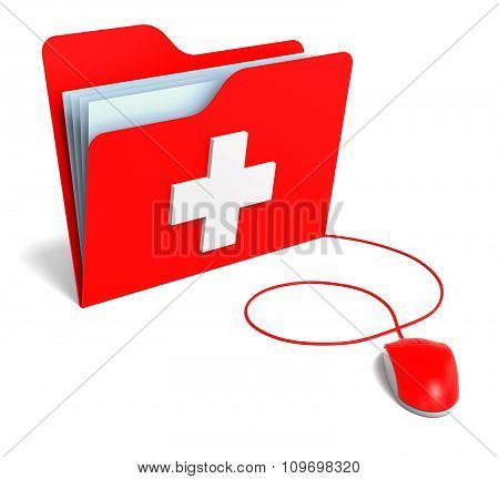 Red Pc Mouse With First Aid Help Folder