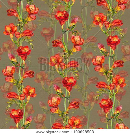 Repeated template with bright design - red exotic freesia flowers on old paper