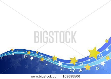 Abstract background blue yellow stars and lines vector