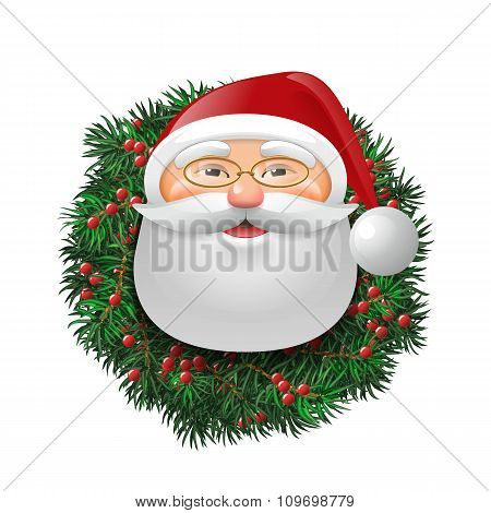 Santa Over Evergreen Holiday Wreath