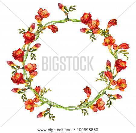 Red floral round wreath with hand painted red exotic flowers freesia