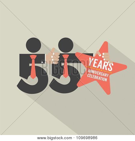 55 Years Anniversary Typography Design.