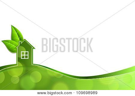 Abstract background house green ecology leaf vector