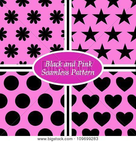 seamless pattern black and pink
