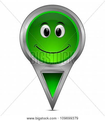 map pointer with smiling face