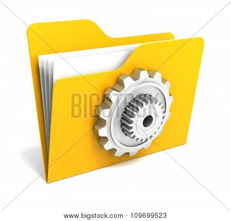 Yellow Folder With Steel Gear. 3D Rendering