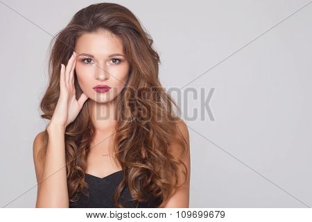 Beautiful natural curly  hair, portrait of an young girl