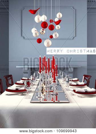 Beautifully set table for Christmas Eve. 3d rendering